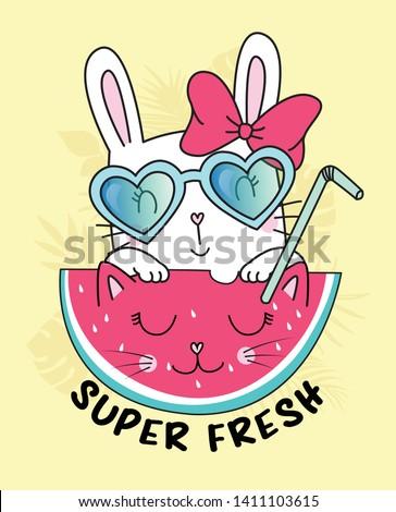 Hand drawn cute rabbit illustration for t shirt printing