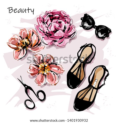 Hand drawn cute set with flowers, sunglasses, shoes and scissors. Beautiful female accessories. Sketch. Vector illustration.