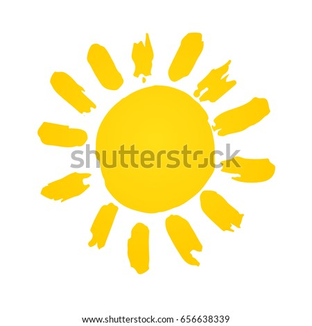 Hand drawn cute shinny sun. Vector graphic illustration