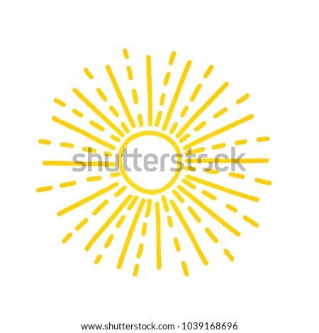 Hand drawn cute shinny sun. Vector graphic illustration. Yellow summer logo, symbol, icon, sign.