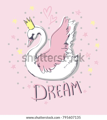 hand drawn cute swan vector