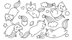 Hand drawn cute unicorn cats flying with stars and clouds for design element and coloring book page for kids or teens.