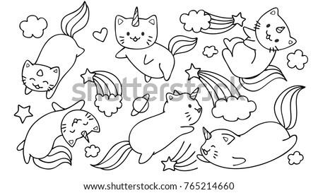 hand drawn cute unicorn cats