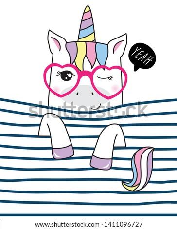 Hand drawn cute unicorn illustration for t shirt printing