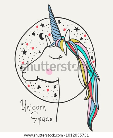 hand drawn cute unicorn with
