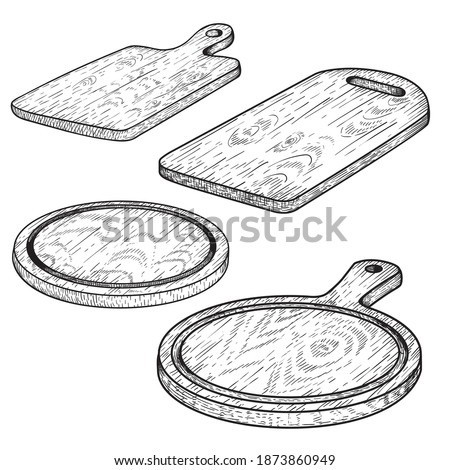 Hand drawn cutting wooden boards set. Sketch style kitchen utensils. Round and rectangular, with handle. Vector illustrations vintage collection. Foto stock ©