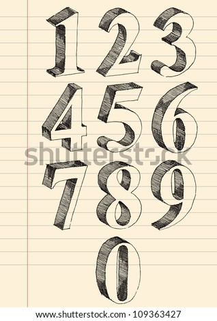 Hand drawn 3d numbers vector set, pen and ink drawing traced.