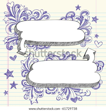 Hand-Drawn 3D Speech Bubbles Sketchy Notebook Doodles with Shooting Stars and Swirls- Vector Illustration Design Elements on Lined Sketchbook Paper Background