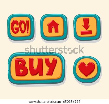 Hand drawn 3d web buttons for the player. GO, home, download, buy, like. internet button set color vector illustration