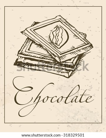 hand drawn dark chocolate bar