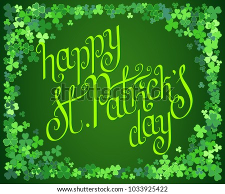 stock-vector-hand-drawn-dark-green-st-patrick-s-day-greeting-card-over-scattered-clover-leaves-background