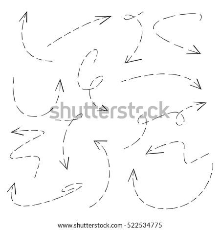 hand drawn dashed arrows