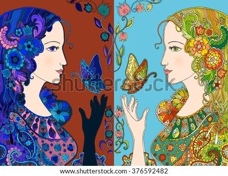 hand drawn day and night ladies