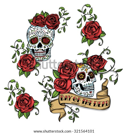 hand drawn day of dead mexican