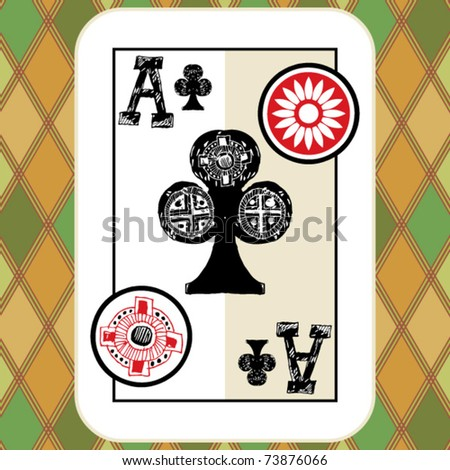hand drawn deck of cards, doodle ace of clubs