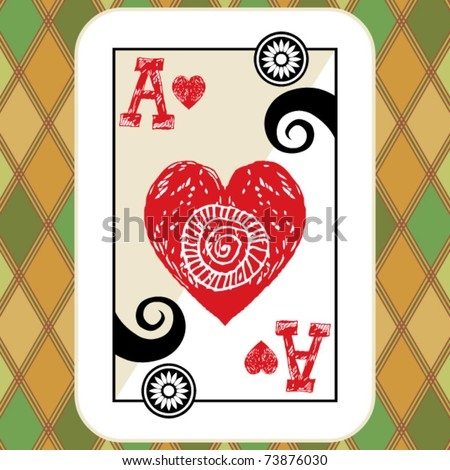 hand drawn deck of cards, doodle ace of hearts