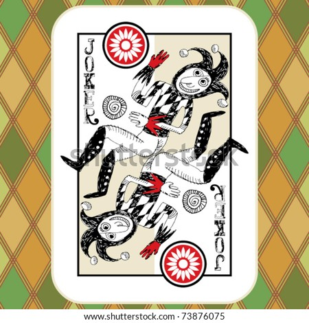hand drawn deck of cards, doodle joker