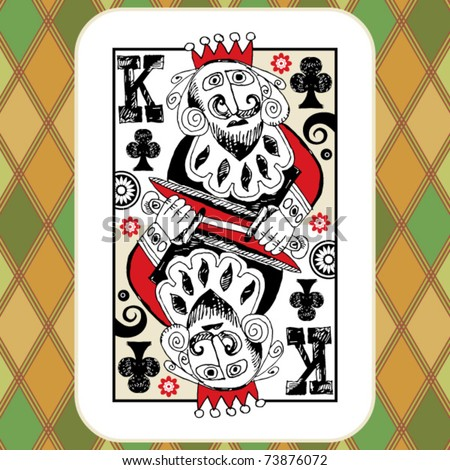 hand drawn deck of cards, doodle king of clubs