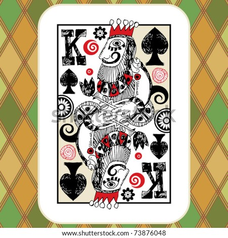 hand drawn deck of cards, doodle king of spades