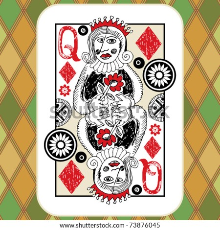 hand drawn deck of cards, doodle queen of diamonds