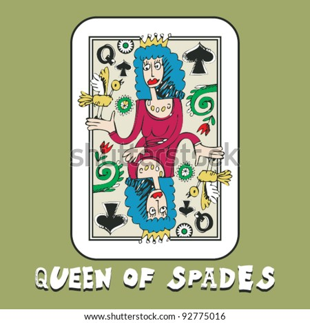 hand drawn deck of cards, doodle queen of spades
