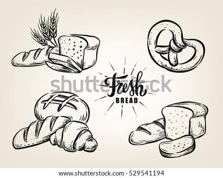 Hand drawn decorative bread bakery on beige background