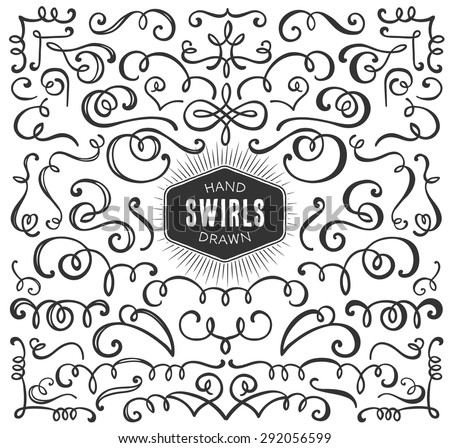 Hand drawn decorative curls and swirls collection. Vintage vector design elements. Ink illustration.