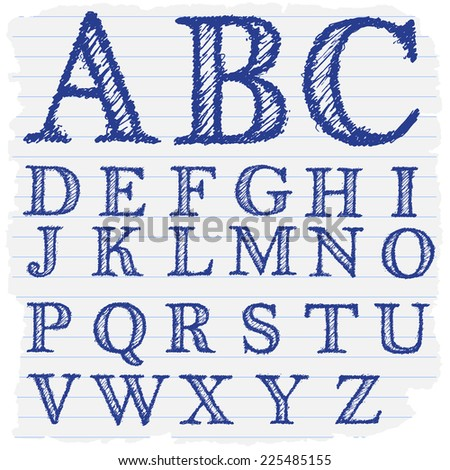 Hand drawn decorative english alphabet letters in vector