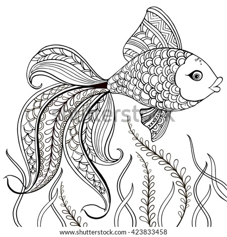 hand drawn decorative fish for