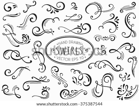 Hand Drawn Decorative Floral Curls And Swirls Collection ...