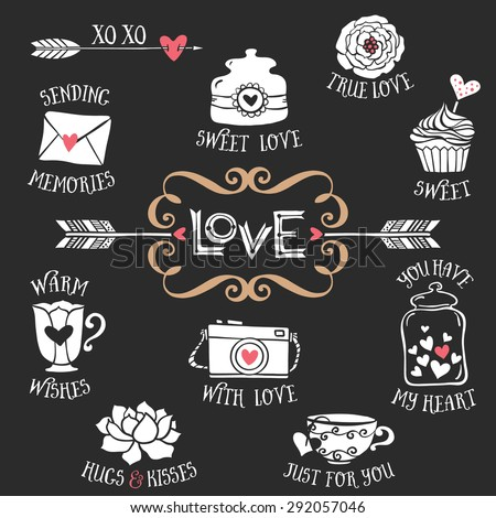 hand drawn decorative love