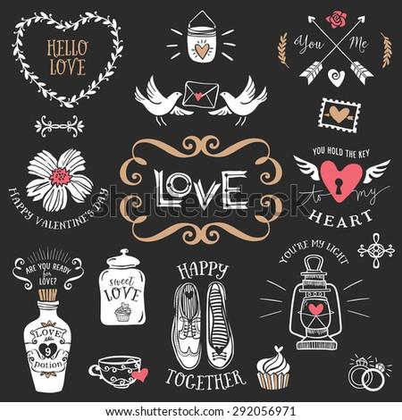hand drawn decorative love