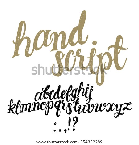 Hand Drawn Decorative Textured Vector ABC Letters Handwritten Script Alphabet Lettering And Custom