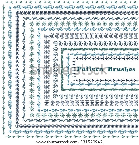 Hand drawn decorative vector brushes with inner and outer corner tiles.  Doodle patterns. Borders set. Design elements. #331520942