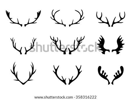 Shutterstock Hand Drawn Deer Antlers Vectors.