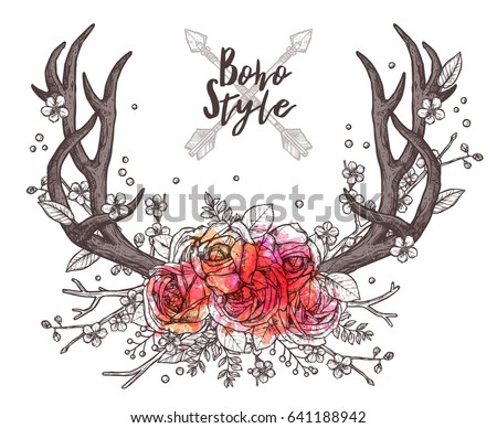 Hand Drawn Deer Horns With Flowers. Boho And Hipster Illustration In sketch Style
