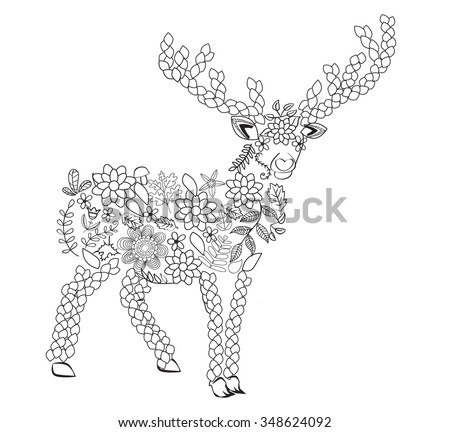 hand drawn deer  isolated on