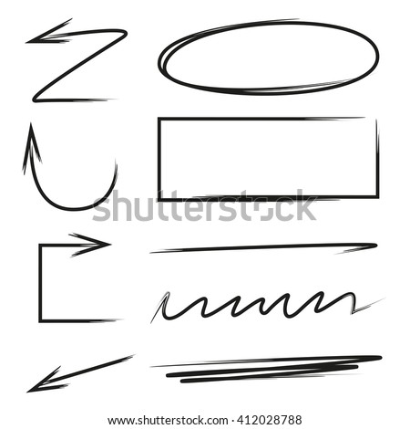 hand drawn design elements, arrows, underlines, circle and rectangle