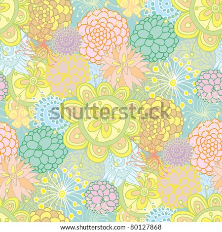 Hand drawn design seamless floral pattern made of several flowers.
