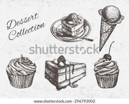 hand drawn dessert collection