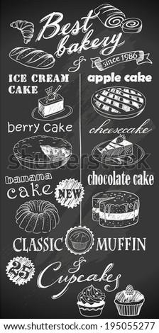 hand-drawn desserts on chalkboard