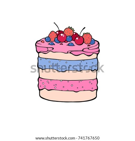 Hand drawn desserts,pieces, slices of cheesecake and layered vanilla cake, sketch style vector illustration isolated on white background.