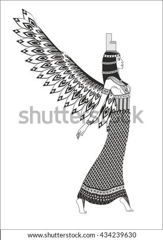 Hand drawn detailed winged egyptian goddess. ISIS. Hathor.Vector isolated illustration.