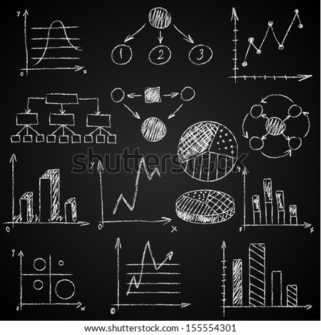 Hand-drawn diagrams on blackboard background