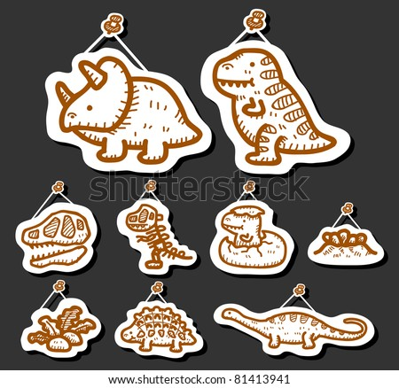 Hand drawn Dinosaur Icon set