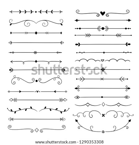 Hand drawn dividers. Line design elements vintage borders. Calligraphic ornate decoration. Retro divider, separator vector set