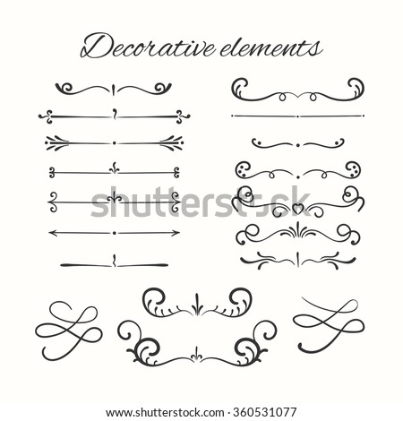 Hand drawn dividers set. Ornamental decorative elements. Vector ornate elements design.