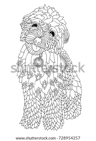 Hand drawn dog. Sketch for anti-stress adult coloring book in zen-tangle style. Vector illustration  for coloring page.