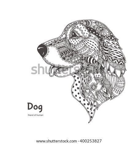 hand drawn dog  with ethnic