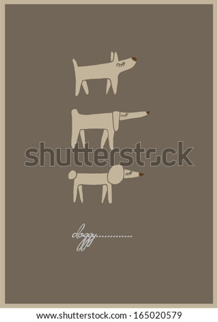 Hand Drawn Doggy template vector illustration